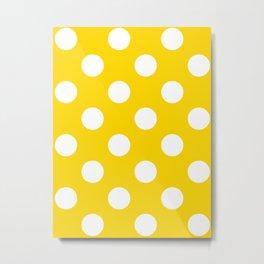 Large Polka Dots - White on Gold Yellow Metal Print
