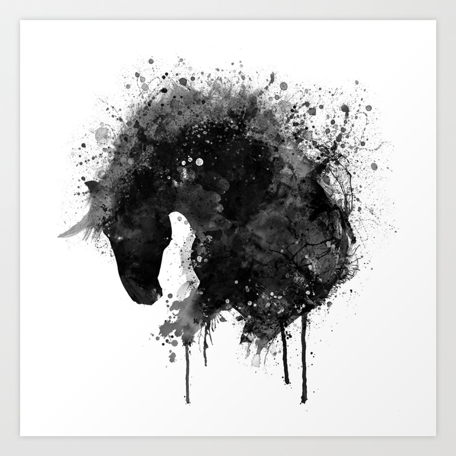 Black And White Horse Head Watercolor Silhouette Art Print By Marianvoicu Society6