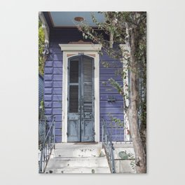 New Orleans Blue Marigny Door Canvas Print