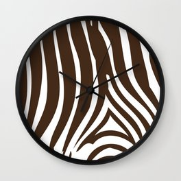 Zebra Stripes | Chocolate Brown and White Wall Clock