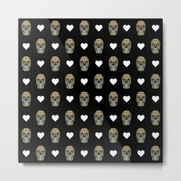 Say It with Skull and Hearts Metal Print
