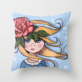 Big-Eyed Girl with Pink Rose on Head, Pop Surrealism, Original Art, Illustration Throw Pillow