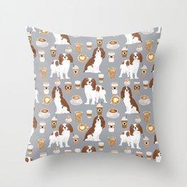 Cavalier King Charles Spaniel coffee lover custom pet portrait by pet friendly dog breeds Throw Pillow