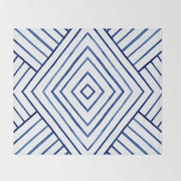 Watercolor lines pattern | Navy blue Throw Blanket