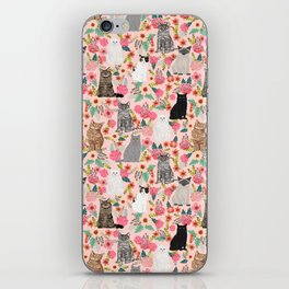 Cat floral mixed breeds of cats gifts for pet lovers cat ladies florals iPhone Skin
