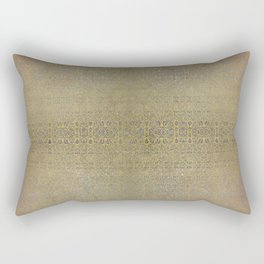 Gold and Silver Leaf Bridget Riley Inspired Pattern Rectangular Pillow