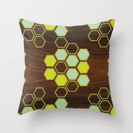 Hex in Green Throw Pillow