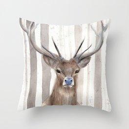 Deer in Winter Forest Throw Pillow