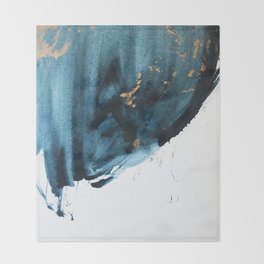 Sapphire and Gold Abstract Throw Blanket