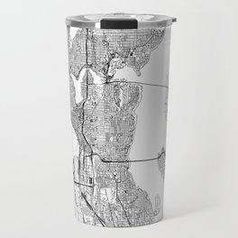 Seattle White Map Travel Mug