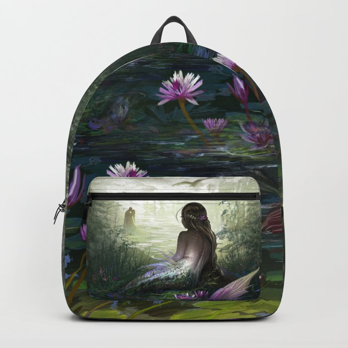 Little mermaid - Lonley siren watching kissing couple Backpack