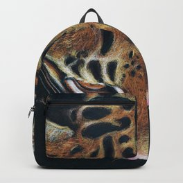 Ocelot Colored Pencil Drawing Art Backpack