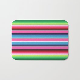 Pink Green Blue Mexican Serape Blanket Stripes Bath Mat