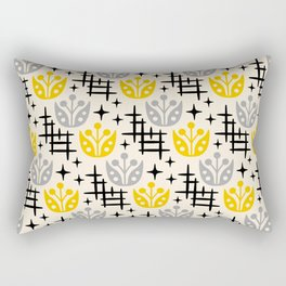 Mid Century Modern Space Flower Pattern Gray and Yellow Rectangular Pillow