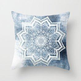 BLUEISH SEA FLOWER MANDALA Throw Pillow