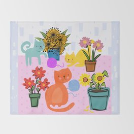 Three Curious Cats Throw Blanket