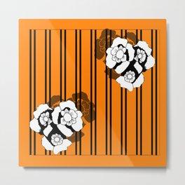 Flower and Stripes Metal Print