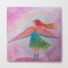 Rainbow Wings Metal Print