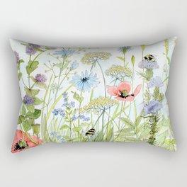 Floral Watercolor Botanical Cottage Garden Flowers Bees Nature Art Rectangular Pillow