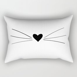 Cat Heart Nose & Whiskers Rectangular Pillow