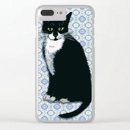 Cute Tuxedo Cat Clear iPhone Case
