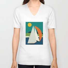 mid century sails Unisex V-Neck