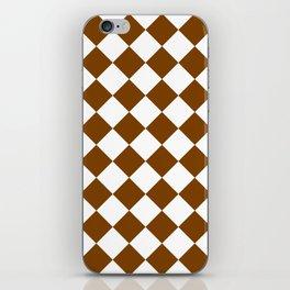Large Diamonds - White and Chocolate Brown iPhone Skin