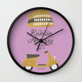 Roman Holiday, Audrey Hepburn,movie poster, Gregory Peck, William Wyler, romantic hollywood film Wall Clock