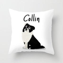"Custom Dog Art ""Collin"" Throw Pillow"
