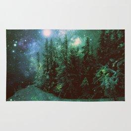 Galaxy Winter Forest Green Rug