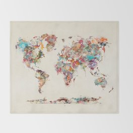 Maps throw blankets society6 world map watercolor deux throw blanket gumiabroncs Choice Image