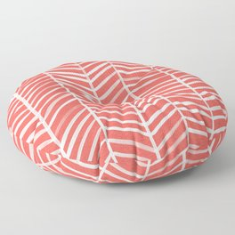 Coral Herringbone Floor Pillow