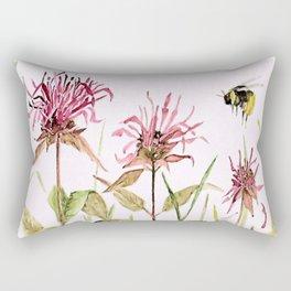 Flowers Bee Balm Pink Garden Wildflowers Nature Art Rectangular Pillow
