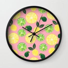 Lemon Lime in Pink Wall Clock