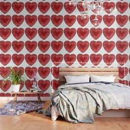 Candy Red Lace Heart Wallpaper