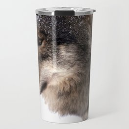 Wolf In the Snow Travel Mug