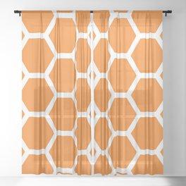 Orange Honeycomb Sheer Curtain
