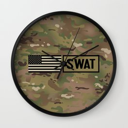 SWAT: Woodland Camouflage Wall Clock