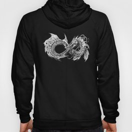 Ouroboros mythical snake on transparent background | Pencil Art, Black and White Hoody
