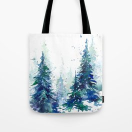Watercolor winter fir forest Tote Bag