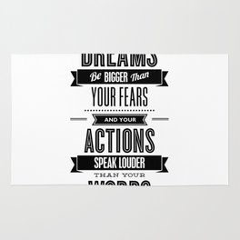 Let Your Dreams Be Bigger Than Your Fears black-white typography design poster home wall decor Rug