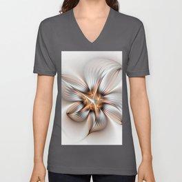 Elegance of a Flower, modern Fractal Art Unisex V-Neck