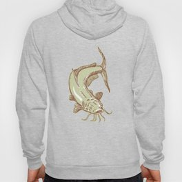 Catfish Mud Cat Diving Etching Hoody