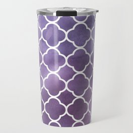 Quatrefoil Shape, Watercolors - Purple White Travel Mug