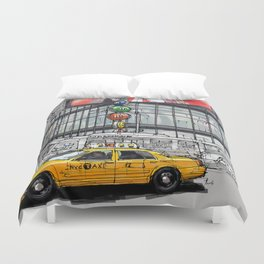 A corner in New York city and a yellow cab Duvet Cover