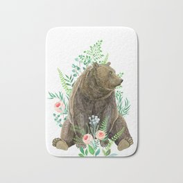 bear sitting in the forest Bath Mat