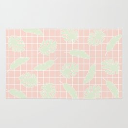 Graphic Tropical Leaves on Grid Pink and Mint Green Rug