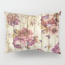 Rustic Vintage Country Floral Wood Romantic Pillow Sham
