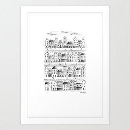 Cityscape from baloon flight Art Print