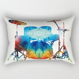 Drum Set Art - Color Fusion Drums - By Sharon Cummings Rectangular Pillow